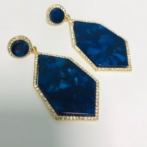 Blue Lapis color and pave  statement earrings